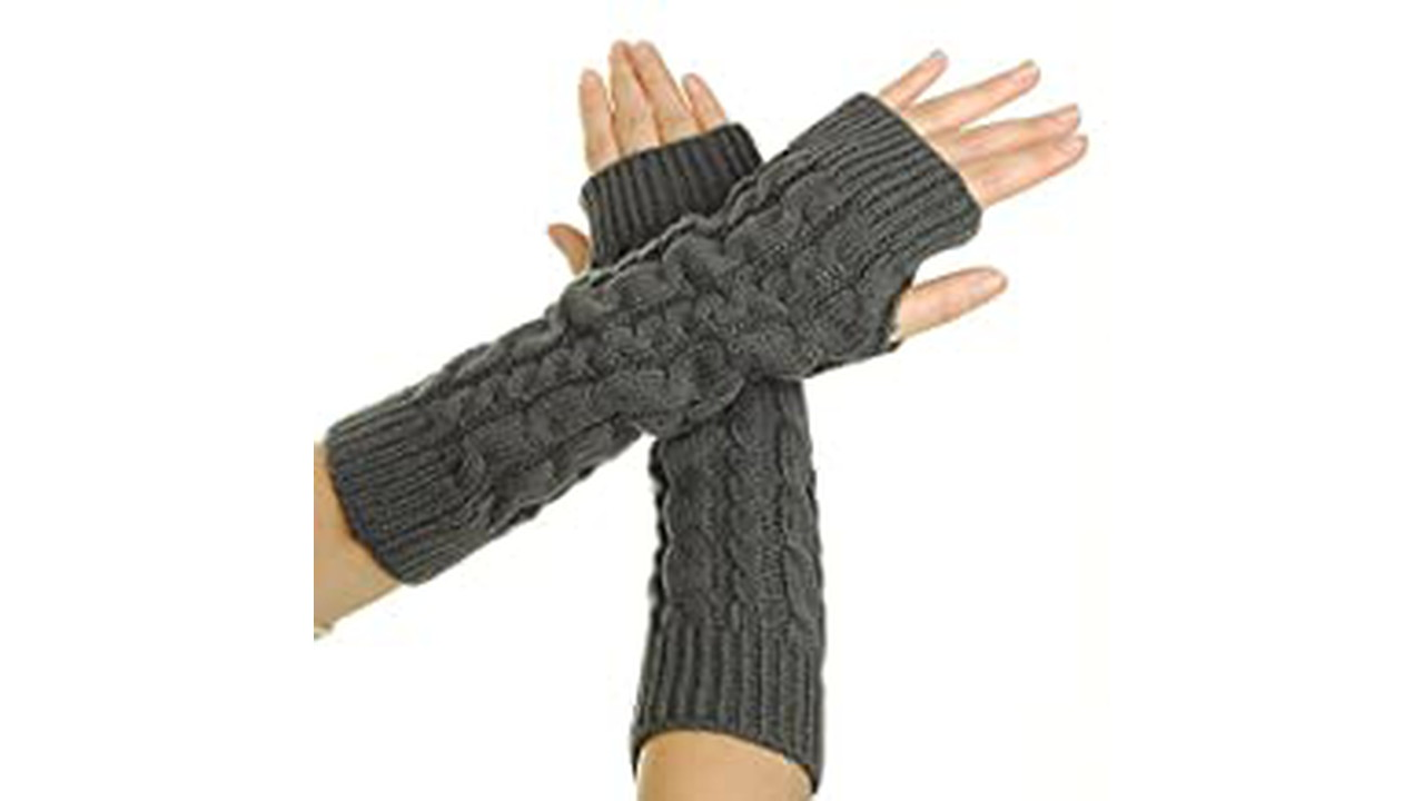 51BpkO6p1fL. AC UY218 ML3  - Flammi Women's Cable Knit Arm Warmers Fingerless Gloves