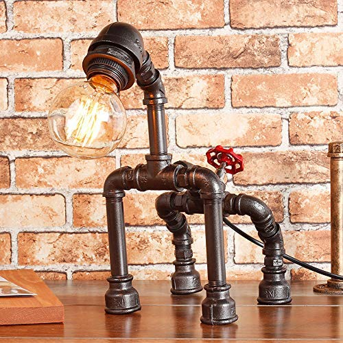 61SIebQLu4L. AC - Y-Nut Loft Dog Figure Industrial Pipe Table Desk Light Stand with Dimmer