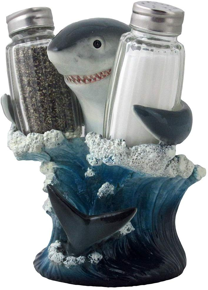 61qap43dMbL. AC SL1000 - Home 'n Gifts Great White Shark Glass Salt and Pepper Shaker Set