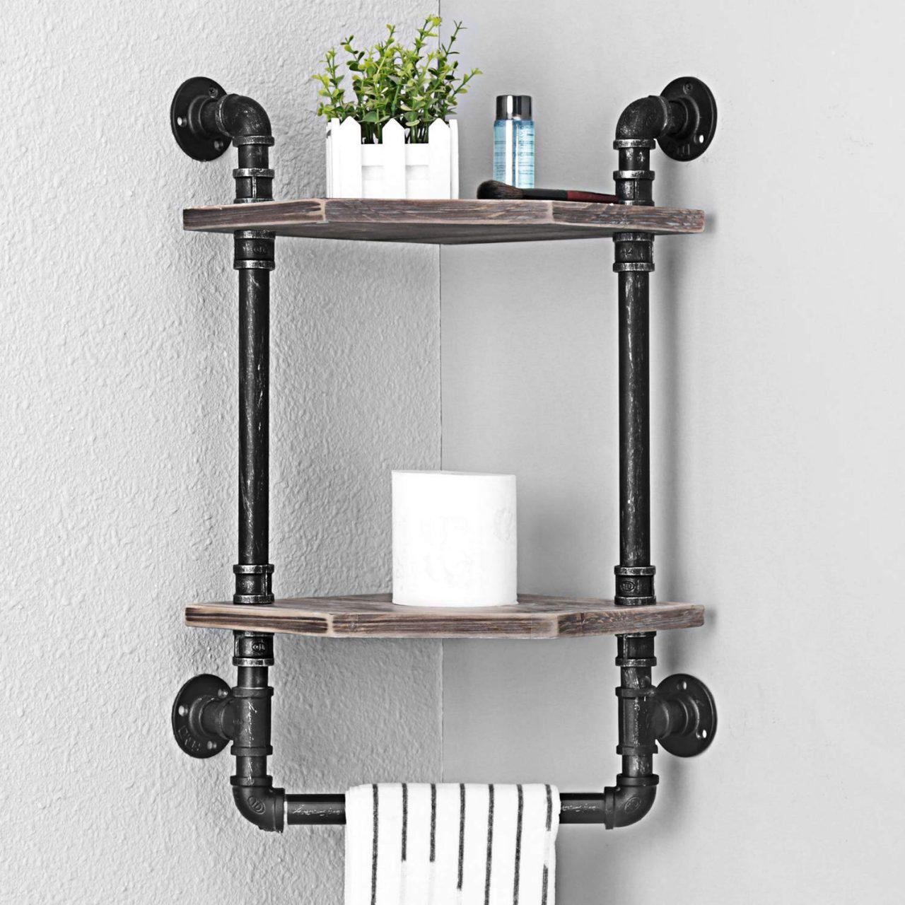 719OUWP1D0L. AC SL1500 - MBQQ Rustic Corner Shelves with Towel Bar Wall Mounted, 2 Tiered MBQQ