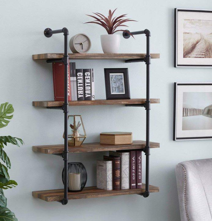 71IYsRhUSPL. AC SL1068 - Homissue 4-Shelf Rustic Pipe Shelving Unit