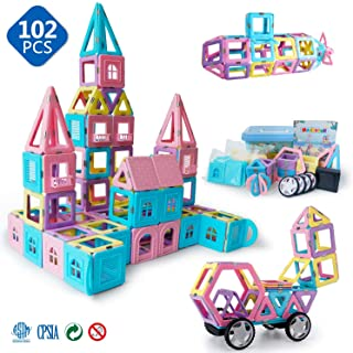 71k D6FkWuL. AC UL320 ML3 - Magnetic Toys for Kids Toddlers Magnetic Tiles Magnetic Castle Blocks Preschool Magnet Toys Set 102 Pieces.