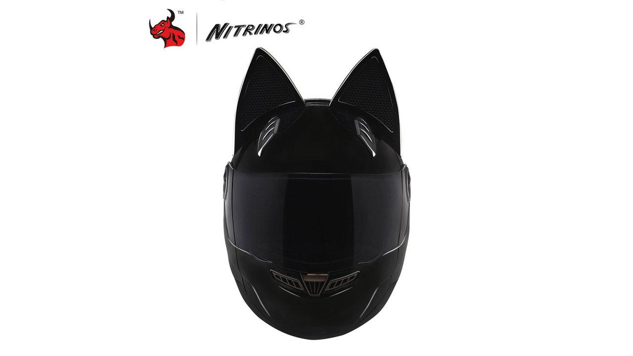 Nitrinos Black Cat Ear Helmet 1 - Best Cat Ear Motorcycle Helmets 2020 [User Rated]