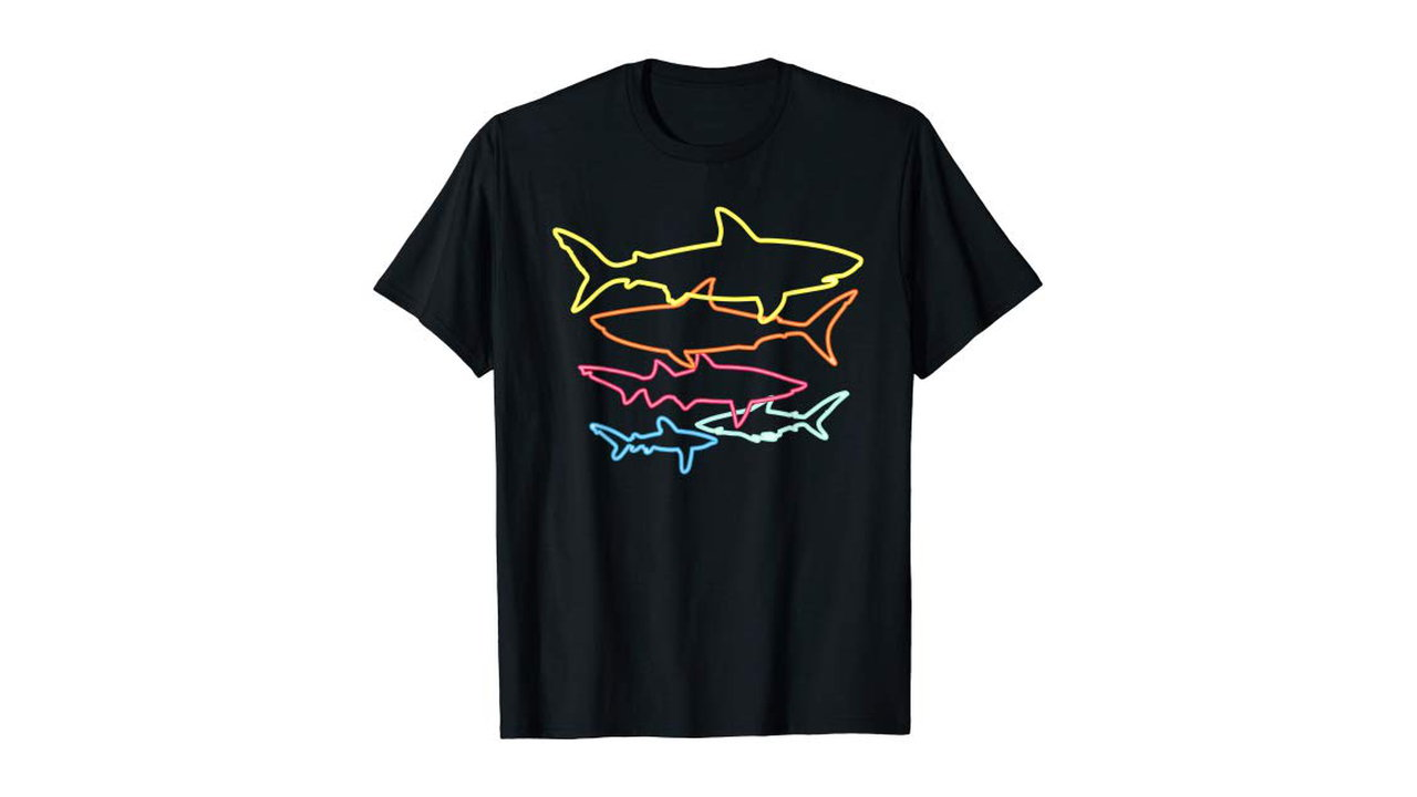 Retro 80s Shark Mens Shirt 4 - Retro 80s Shark Mens Shirt